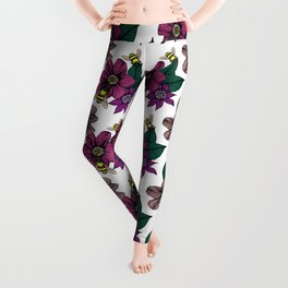 Bright Floral with Bees Leggings