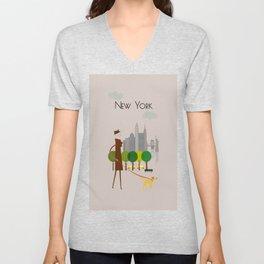 New York - In the City - Retro Travel Poster Design Unisex V-Neck