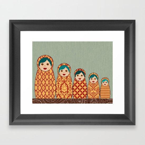 Red and Yellow Matryoshka Nesting Dolls Framed Art Print