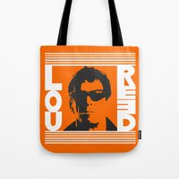 lou reed Tote Bags featuring Lou Reed by Silvio Ledbetter