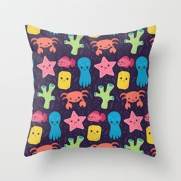 Cute Ocean Friends • Purple Background Throw Pillow