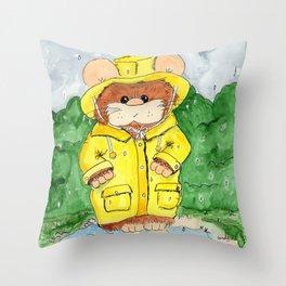Hammy in a Raincoat Throw Pillow