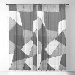 Silver Gray Black White Geometric Glam #1 #geo #decor #art #society6 Sheer Curtain