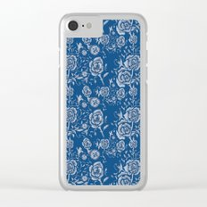 Denim and Roses Clear iPhone Case