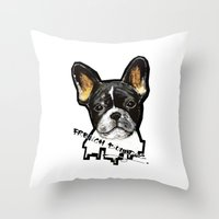 french bulldog Throw Pillows featuring French Bulldog by Det Tidkun