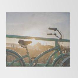 Bike & Beach in Sunny Manhattan Beach, California Throw Blanket