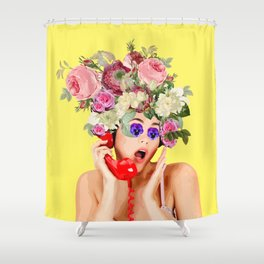 Woman in Rose Shower Curtain