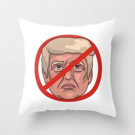 Donald Trump No Road Sign Illustration Throw Pillow