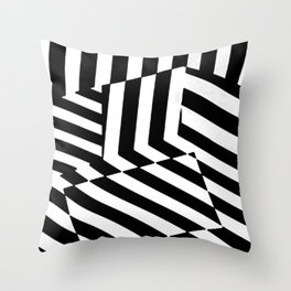 Black and White Dazzle Camouflage Pattern Throw Pillow