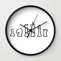 chess Wall Clocks featuring chess chess figures board by Lineamentum