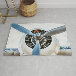 Legendary Vintage Aircraft Engine And Propeller On White Rug