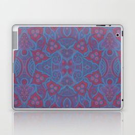 Pink berries, bohemian style, floral pattern, arabesque in blue and pink colours Laptop & iPad Skin