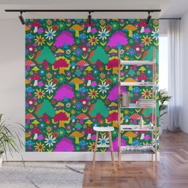 60's Funky Forest in Evergreen Wall Mural
