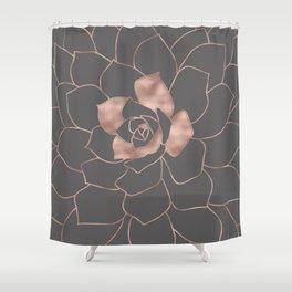 Rosegold  blossom on grey - Pink metal-effect flower Shower Curtain