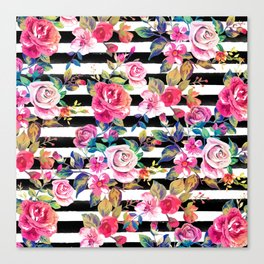Cute spring floral and stripes watercolor pattern Canvas Print
