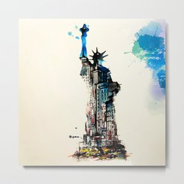 Vintage Liberty New York City Travel Love Watercolor Metal Print
