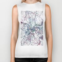 pittsburgh Biker Tanks featuring Pittsburgh map by MapMapMaps.Watercolors