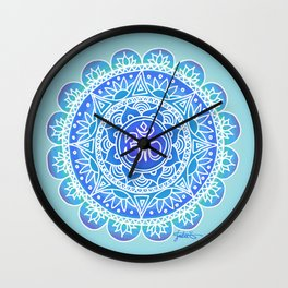 Shades of Blue Ohm Mandala Wall Clock