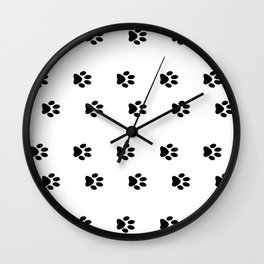 Cat Paws - Cat Lovers Unite! Black and White Cat Art Wall Clock