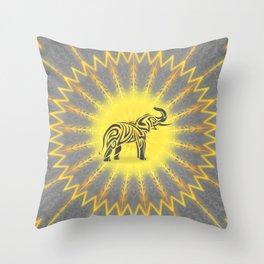 Yellow Grey Elephant Mandala Throw Pillow