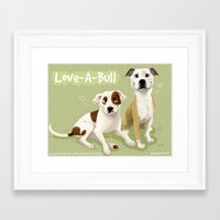 pit bull Framed Art Prints featuring Love-A-Bull Pit Bull by Bark Point Studio