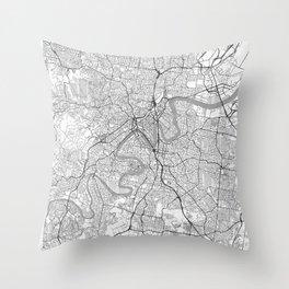 Brisbane Map Line Throw Pillow