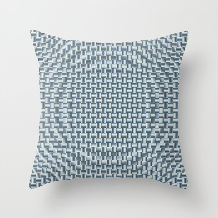 Blue & Linen White Grid Tessellation Pattern 2020 Color of the Year Chinese Porcelain & Oatmeal Throw Pillow