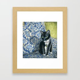 Sweet Tuxedo Cat on Blue Floral Chair Framed Art Print