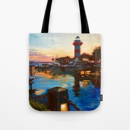 Harbour Town Lighthouse Evening, Hilton Head Island Tote Bag