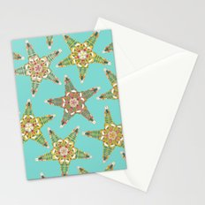 starfish flowers blue Stationery Cards