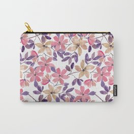 Cute watercolor pink, beige flowers on white Carry-All Pouch