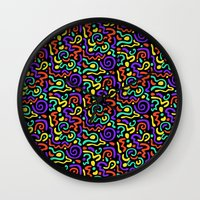90s Wall Clocks featuring 90s Swirls by Three Pea
