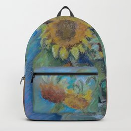 Bull Gogh van Dog Sunflowers & Bulldog Pastel drawing Funny pastiche of van Gogh's painting Backpack