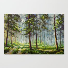 Original acrylic painting Walk in the sunny forest. Colorful illustration. Artwork fine art. Canvas Print