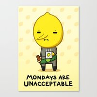 lemongrab Canvas Prints featuring Yay Monday, Lemongrab by fablefire