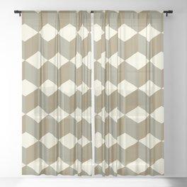 Diamond Repeating Pattern In Meerkat Brown and Grey Sheer Curtain