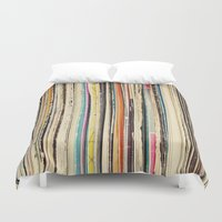 cassia beck Duvet Covers featuring Record Collection by Cassia Beck