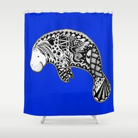 manatee Shower Curtains featuring Manatee by Casey Virata