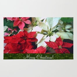 Mixed color Poinsettias 1 Merry Christmas S6F1 Rug