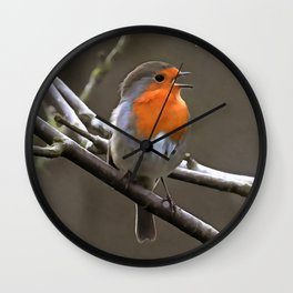 European Robin Red and Grey Painting Wall Clock