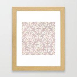 Beige Shabby Damask Pattern Framed Art Print