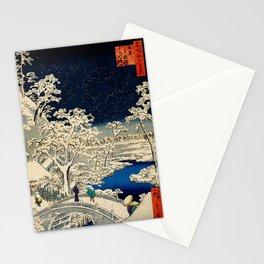 Ukiyo-e, Ando Hiroshige, Yuhi Hill and the Drum Bridge at Meguro Stationery Cards