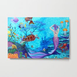 A Fish of a Different Color - Mermaid and seaturtle Metal Print