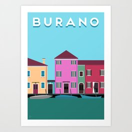 Vintage Vector Burano, Italy Travel Poster Art Print