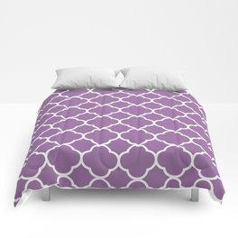 Quatrefoil Shape (Quatrefoil Tiles) - Purple White Comforters