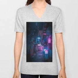 Dark City Vibes in Tokyo Unisex V-Neck