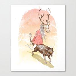 wolf and dear Canvas Print