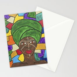 Stained Glass African woman Stationery Cards