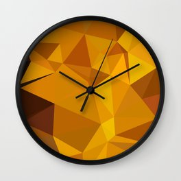 Dark Tangerine Abstract Low Polygon Background Wall Clock