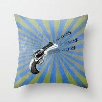 guns Throw Pillows featuring guns by mark ashkenazi